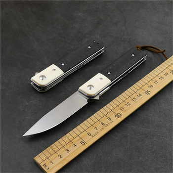 N690 outdoor camping survival folding knife carbon fiber handle high hardness sharp self-defense hunting EDC tool fruit knife stainless steel self defense folding knife hunting camping multifunctional high hardness military survival outdoor fruit knife