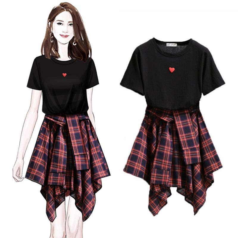 ICHOIX 2 Piece Skirt Set T-shirt Tops And Skirt Set Korean Style 2 Piece Outfits Girl Student Suit Women 2 Piece Set Clothing