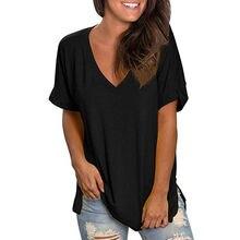 Décontracté Lâche Col en V Femme T-shirts Noir Surdimensionné T-shirts D'été Harajuku femmes T-shirt À Manches Courtes Tunique Mujer Camisetas