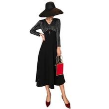 S-XXL Plus Size Dresses Women Patchwork Long Sleeve Vintage Autumn Winter Dress Big Swing Black Dinner for