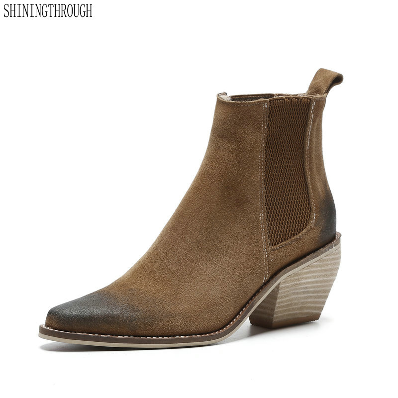 Ankle-Boots Party-Shoes Pointed-Toe Vintage Autumn Winter Genuine-Leather Women New Sexy