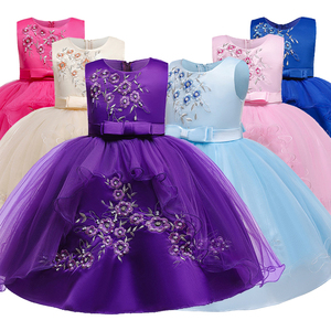 Girls embroidered new fluffy dress baby girl 1 year old birthday wear toddler girl lace baptism gown