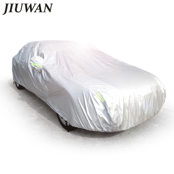 Uniwersalne pełne pokrowce samochodowe śnieg lód kurz słońce UV cień pokrywa składana lampka rozmiar srebrny S-XXL Auto samochód pokrywa ochronna do użytku na zewnątrz okładka tanie i dobre opinie JIUWAN CN (pochodzenie) 5 2m For Dacron Pokrowce na samochód Universal Sun UV Snow Dust Rain Resistant Protection Cover