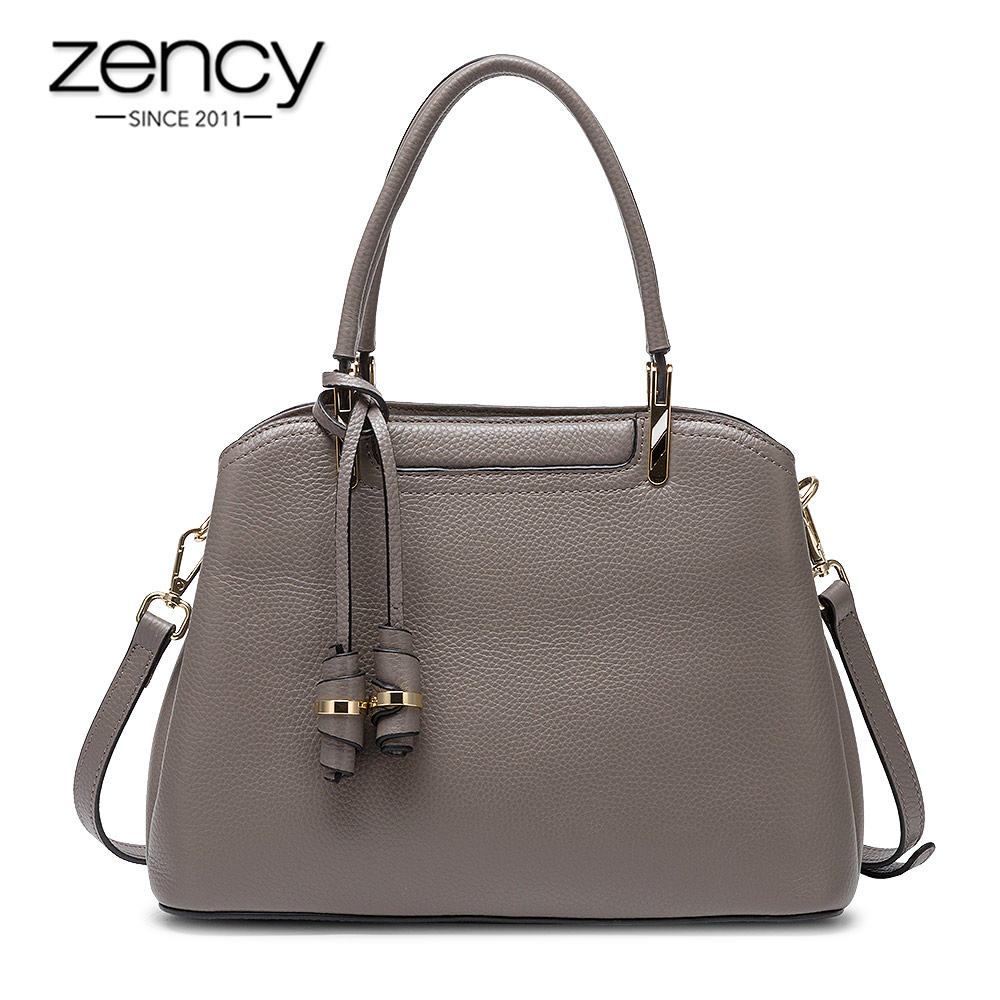 Zency Retro Brown Women's Handbag Made Of Genuine Leather High Quality Fashion Lady Tote Shoulder Bags Black Grey Crossbody Bags