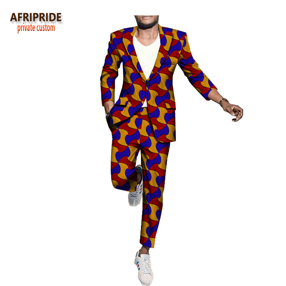 Men`s Business Suit African Print One Button Jacket+Pants Slim Fit Formal Suits Coats Blazer Dashiki AFRIPRIDE  A1816001