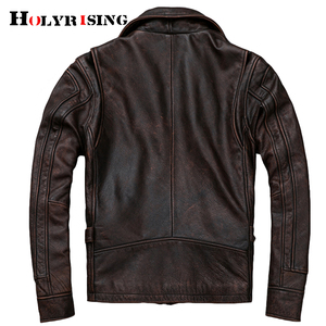 Image 3 - mens Genuine leather distressed motorcycle men real leather jacket 100% Cowhide retro red brown mens Leather Coat 19078 5