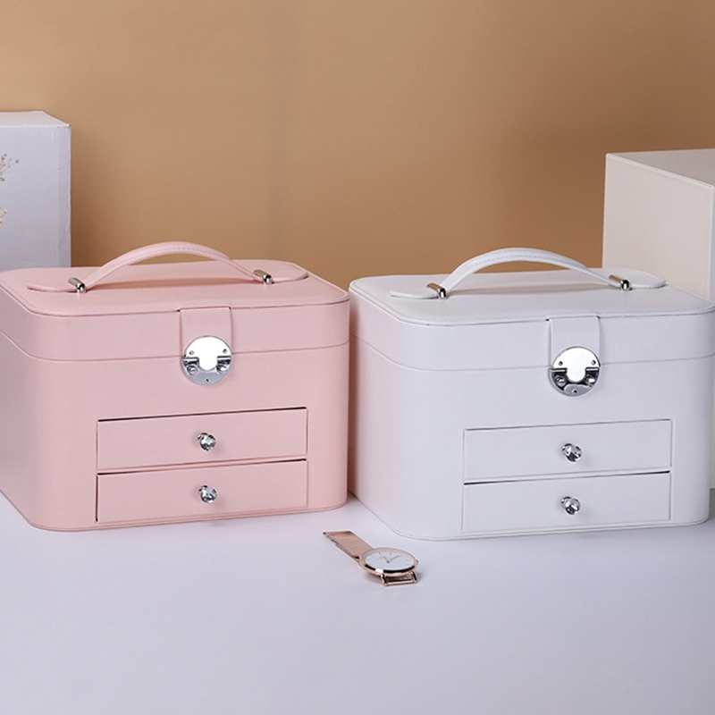 Image 3 - Jewelry Box Large Capacity Jewelry Organizer Multi Layer Makeup  Case Multi Functional Necklace Rings Jewelry BoxesJewelry Packaging