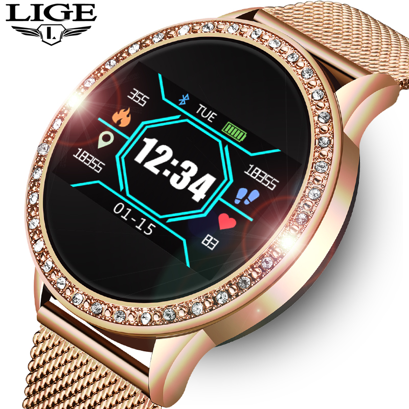LIGE Ladies Smart Watch Women Blood Pressure Heart Rate Monitor Fitness Tracker Sport Smart Band Alarm Clock Reminder Smartwatch