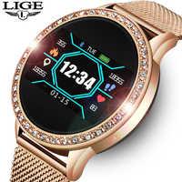 LIGE dames montre intelligente femmes pression artérielle moniteur de fréquence cardiaque Fitness tracker Sport bande intelligente réveil rappel Smartwatch