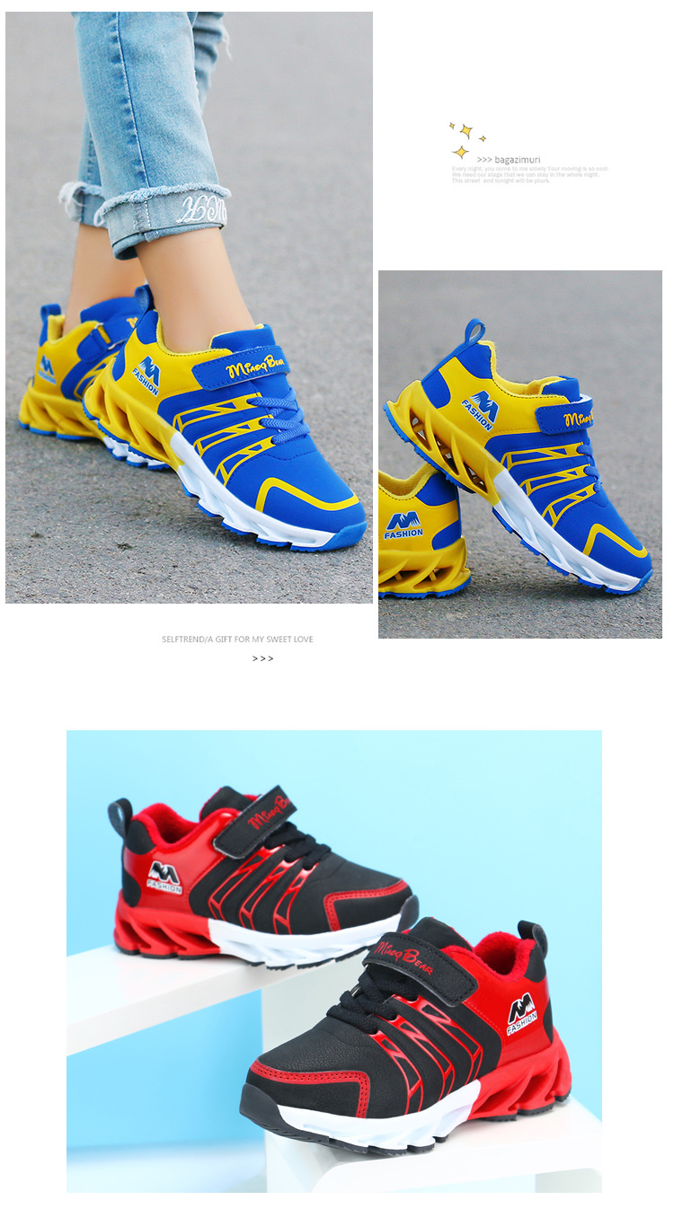 H37893c3e2aee4c73958f7f621741115fG - Autumn Kids Shoes Boys Sneakers Breathable Patchwork Hook&Loop Sport Running Children Shoes For Girls Casual Shoes