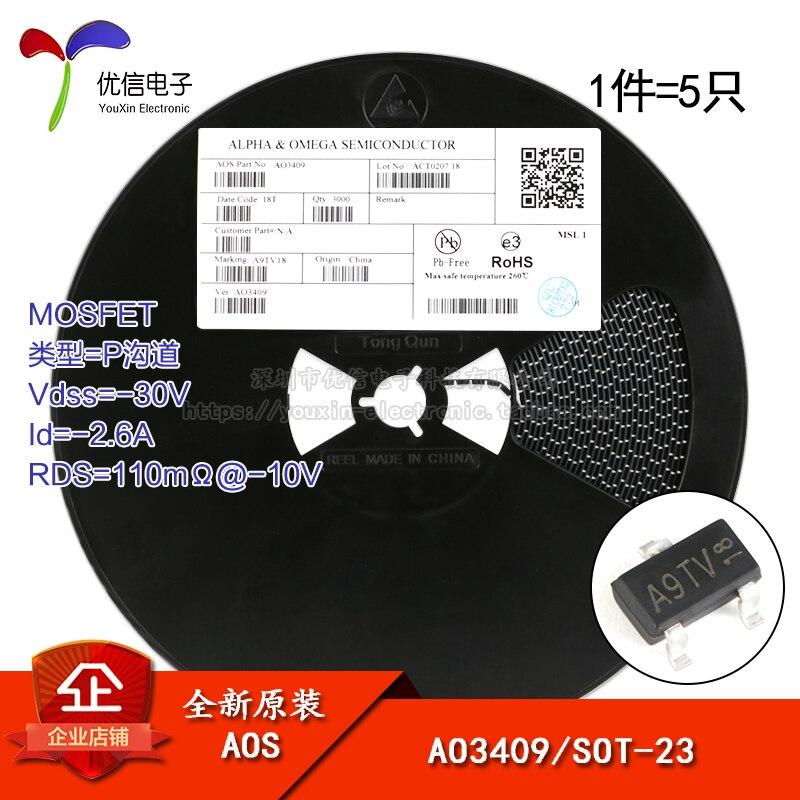AO3409 оригинальный экран A9 SOT-23 P-channel-30 V/-2.6A патч MOSFET