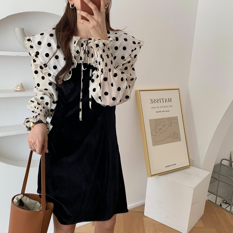 H3789580ec32e470b8ccb6f748c4c9ce6X - Autumn / Winter Puritan Collar Long Sleeves Velvet Stitching Dress