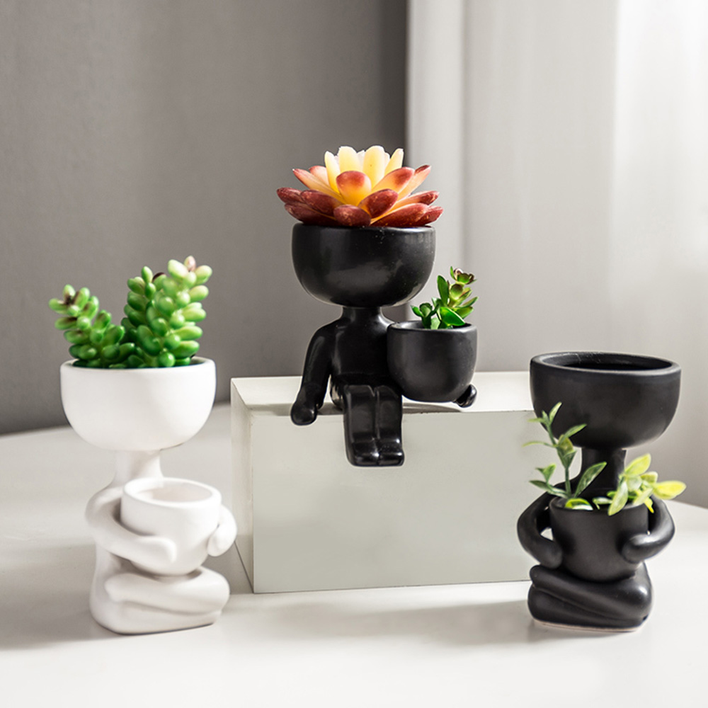 Humanoid Ceramic Flower Pot Vase Portrait Vase Fleshy Flower Pot Flower Arrangement Vase Home Decoration Birthday Gift Cute
