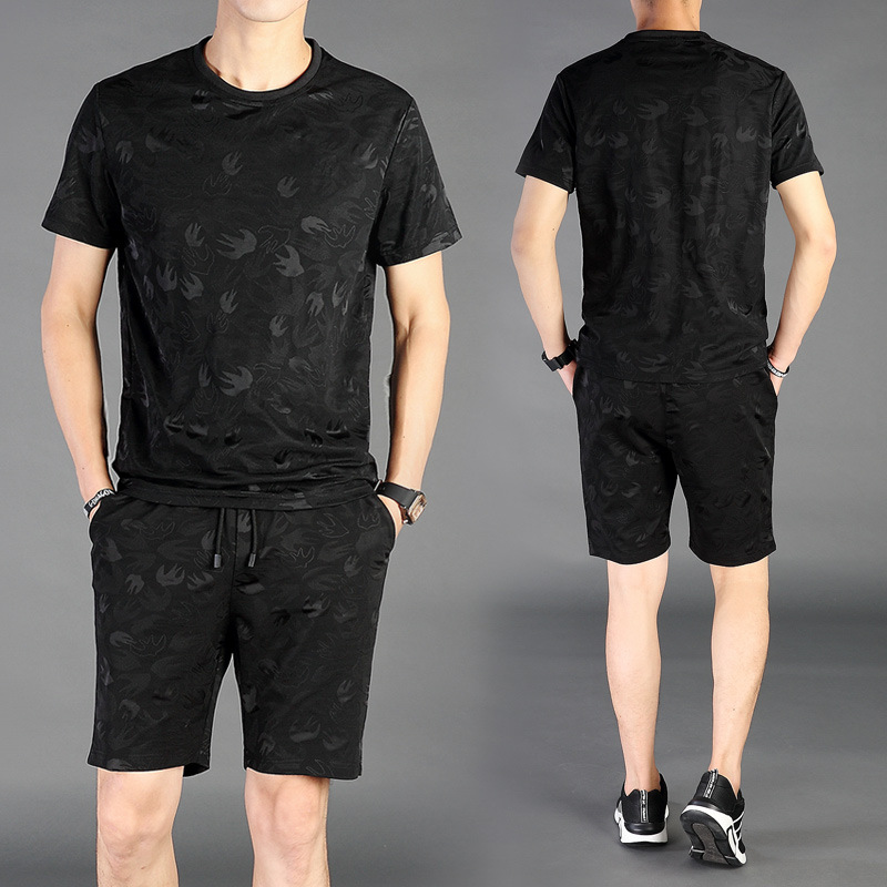 2018 Spring And Summer New Style Men Short Sleeve T-shirt Suit Korean-style Fashion Casual Men's Slim Fit Trend Sports Set