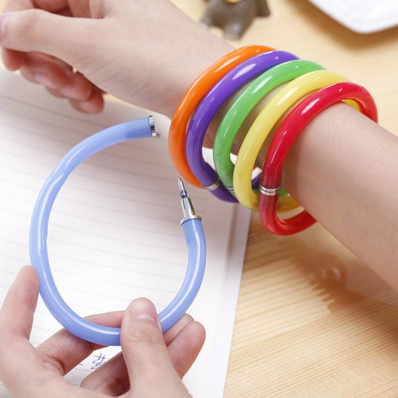 Creative Flexible Ball Pen Cute Soft Plastic Bangle Bracelet Ballpoint Pens School Office Supplies Random Color