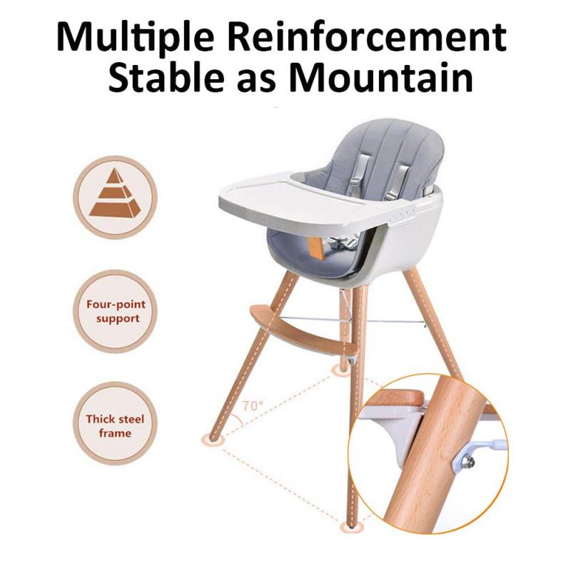 Children's Solid Wood Dining Chair High chair Baby Chair Can Be Disassembled Baby Feeding European Style Table High Chair HWC