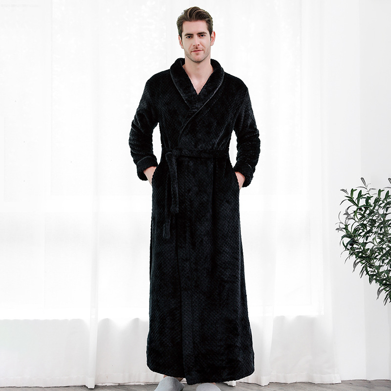Male Winter Extra Long Thick Warm Grid Flannel Bathrobe Men Luxury Kimono Bath Robe Women Sexy Robes Man Thermal Dressing Gown