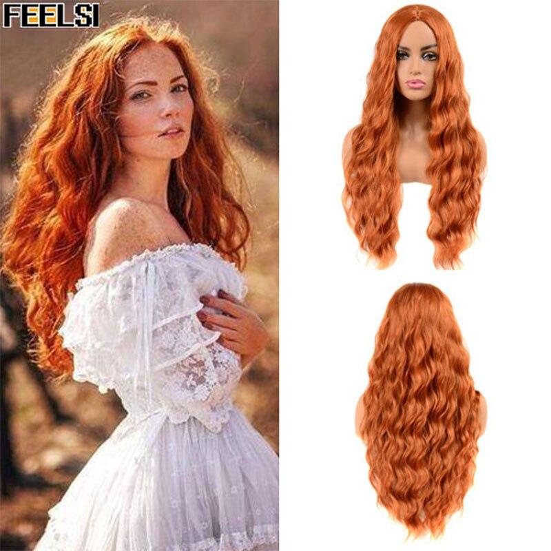 FEELSI Pure rouge noir orange couleur longue vague deau coiffure perruques pour femmes cheveux synthétiques haute température fibre taille moyenne