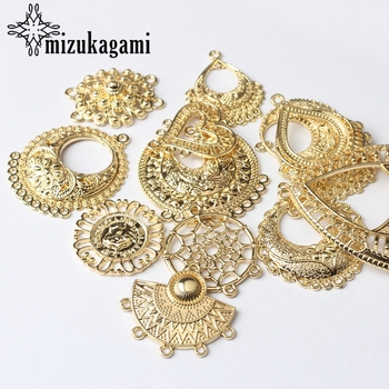 Zinc Alloy Charms Flat Golden Round Water Drop Shape Hollow Connector 6pcs/lot For DIY Tassel Earrings Making Accessories