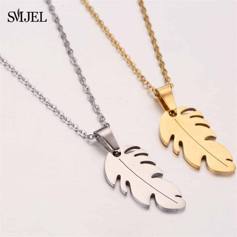 SMJEL Vintage en acier inoxydable pendentif collier plume colliers longue chaîne déclaration bijoux Choker feuille pendentifs pour les femmes