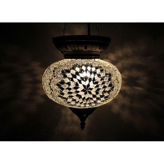 Weiß Türkischen Hängenden Mosaik Kronleuchter  Mosaik boden lampe  Türkische mosaik lampe  mosaik lampe -in Kronleuchter aus Licht & Beleuchtung bei title=