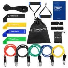 Tomshoo 17Pcs Resistance Bands Set Fitness Rubber Band Yoga Gym Oefening Elastische Loop Band Deuranker Enkelbandjes Set met Zak