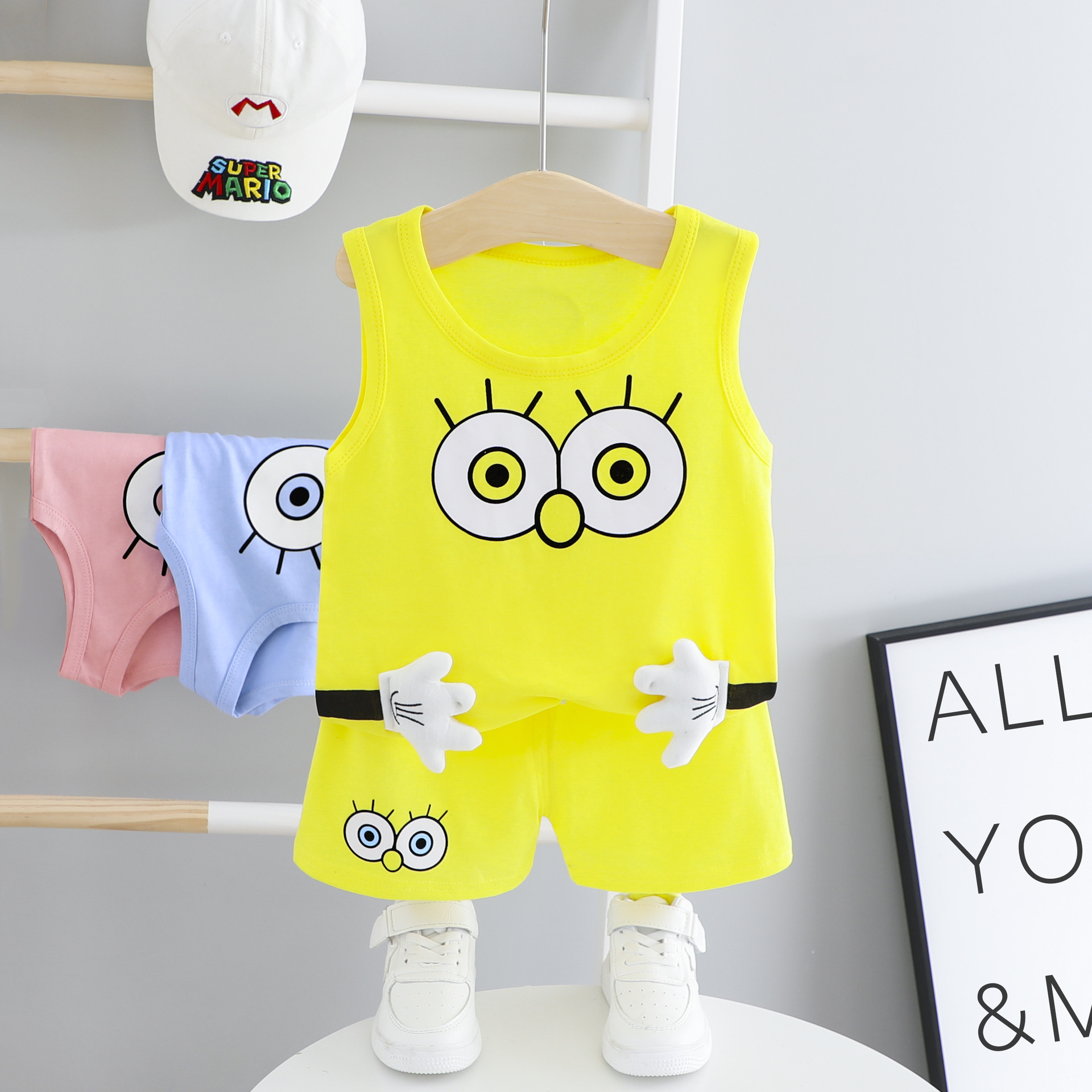 2020 Solid Color Cartoon Big Eyes Printed Vest Shorts 2pcs Baby
