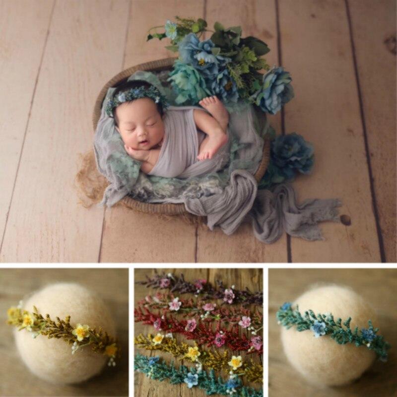 Цветочная Детская повязка на голову, головной убор для новорожденных, гирлянда для фотосессии, аксессуары для фотосессии, студийная лента д...