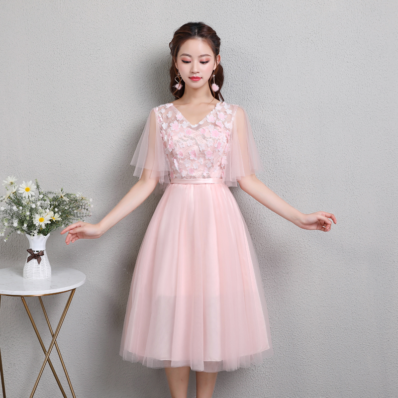 Wedding Party Elegant Guest Tulle Tea Length Dress Formal Sister Pink Burgundy Bridesmaid Dresses Junior Long Sexy Prom Vestido