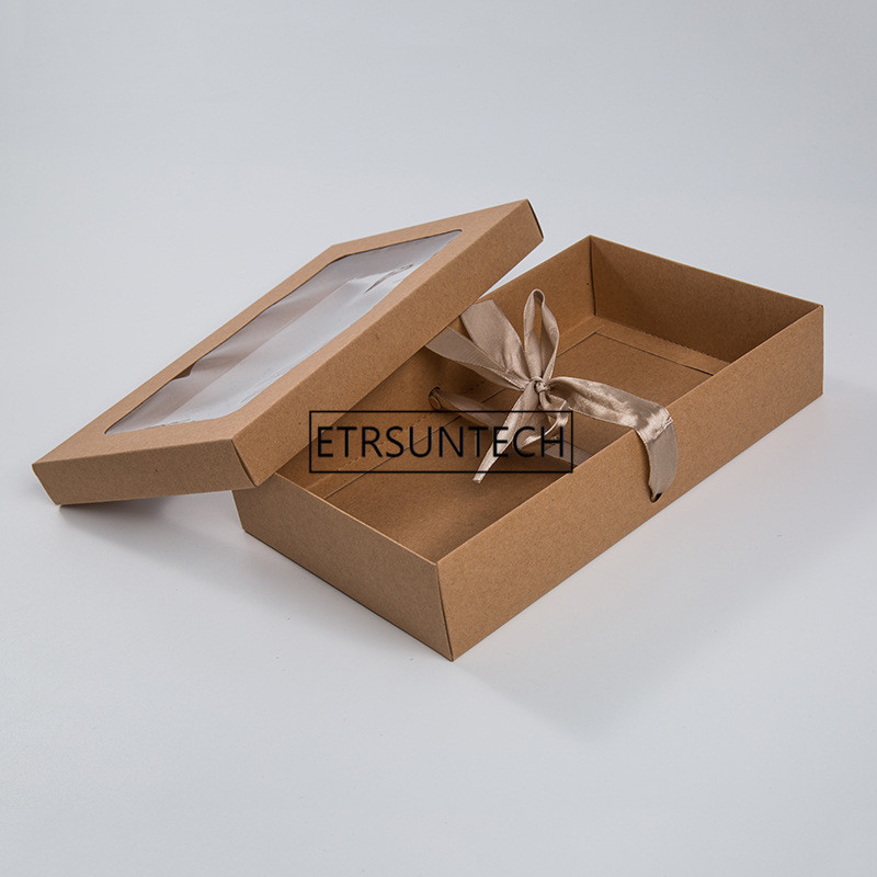 200pcs/lot 27x16x6cm <font><b>Large</b></font> <font><b>Kraft</b></font> <font><b>paper</b></font> gift package display <font><b>box</b></font> with clear pvc window candy favors package <font><b>box</b></font> With Silk ribbon image