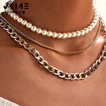 Vkme панк многослойное жемчужное колье ожерелье для женщин эффектное