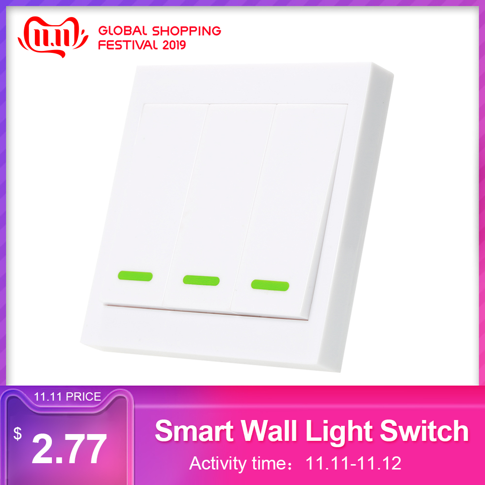 EWeLink Push Button Wall Light Switch Remote Controller 3 Gang 86 Type Panel Switch Smart Home 433MHz Wireless RF Remote Control