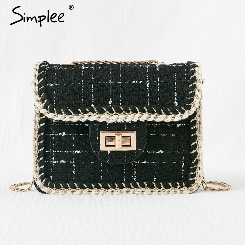 Simplee Straw Bag Handbags Women Summer Rattan Bag Wild Messenger Bag Fashion Shoulder Small Square Handmade Woven Beach Bags