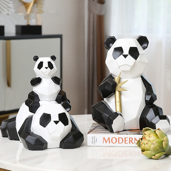 Modern Simple Chinese Panda Paper Folding Geometry Simulation Animal Colophony Crafts Home Decoration Accessories X3814