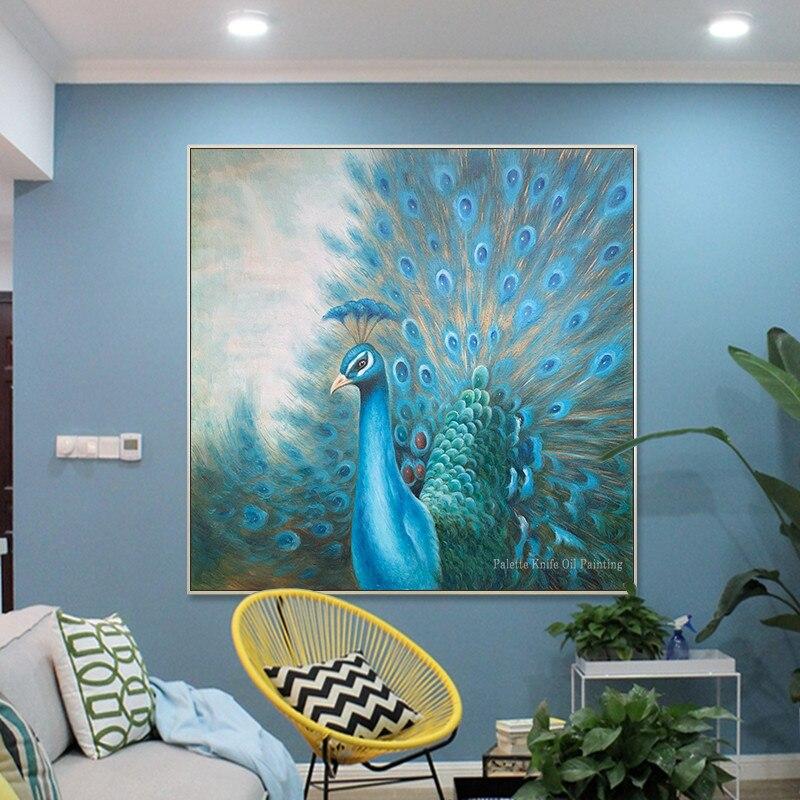 Originele pauw decoratie schilderen handgeschilderde canvas olieverf dier blue wall art Home office decor cuadros abstractos - 5