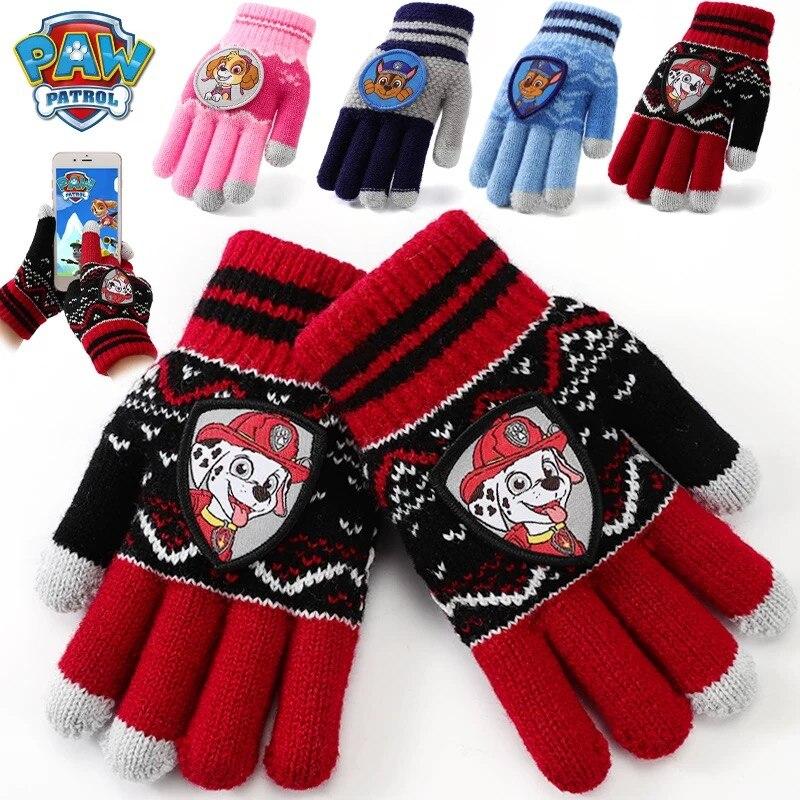 1 Pair Genuine Paw Patrol Gloves For Girl Boy Warm Autumn Winter Glove Skye Everest Rubble Chase Non Slip Mitten Christmas Gift