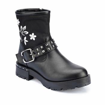 FLO Women Boots Black Leather Floral Female Ladies Ankle Boots Martins Shoes Wedges Autumn Winter Spring Shoes Buckle Zipper Fashion Shoes 82.312291.Z Polaris