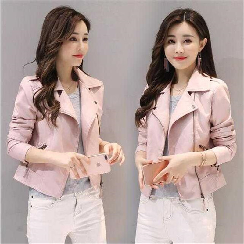 2019 new spring and autumn women's   leather   jacket women's short fashion slim pink pu small coat motorcycle   leather   jacket S-4XL