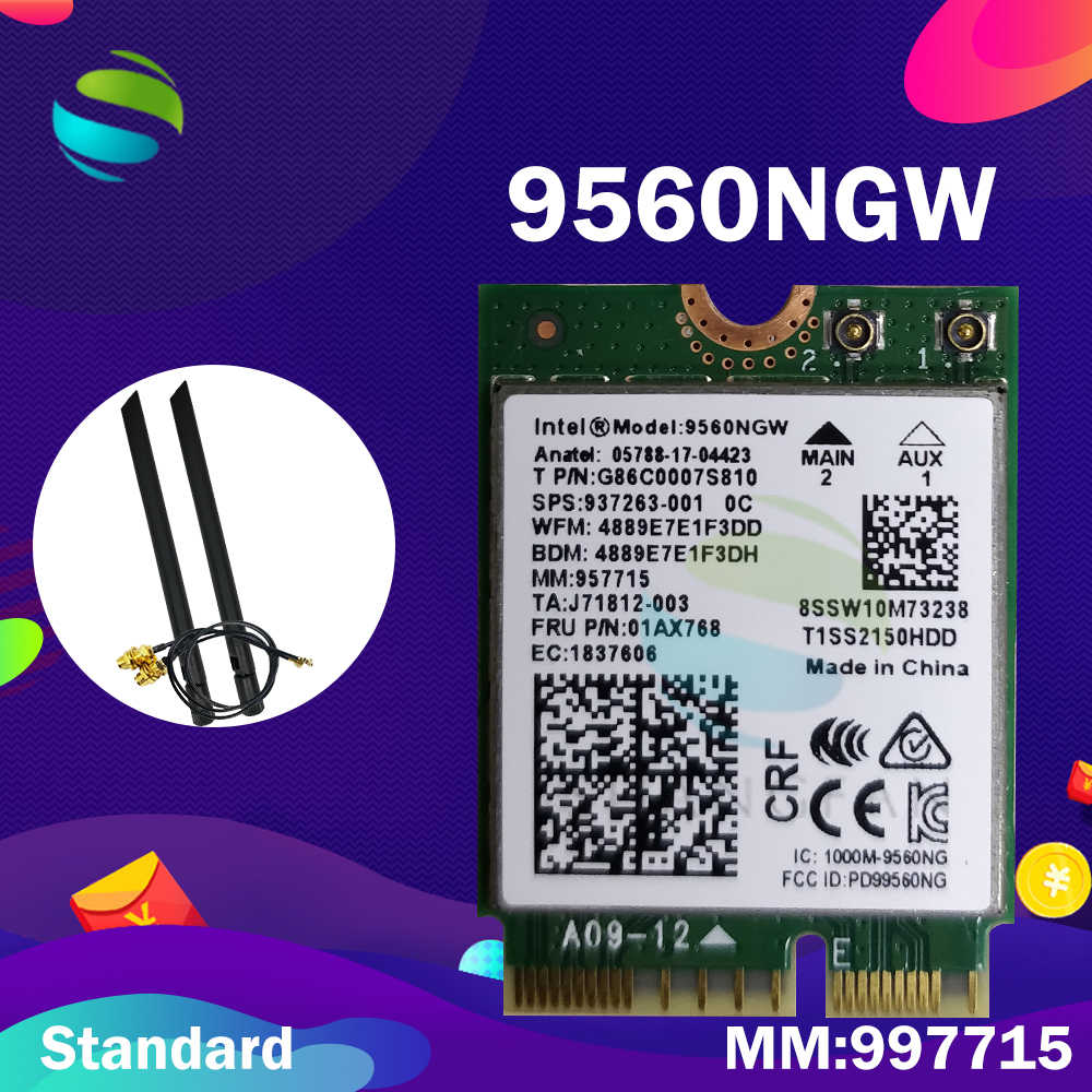 Placa de wifi para intel banda dupla ac 9560 9560ngw 9560ac mm: placa wi-fi 957715 gbps ngff key e, para windows 10, 1.73