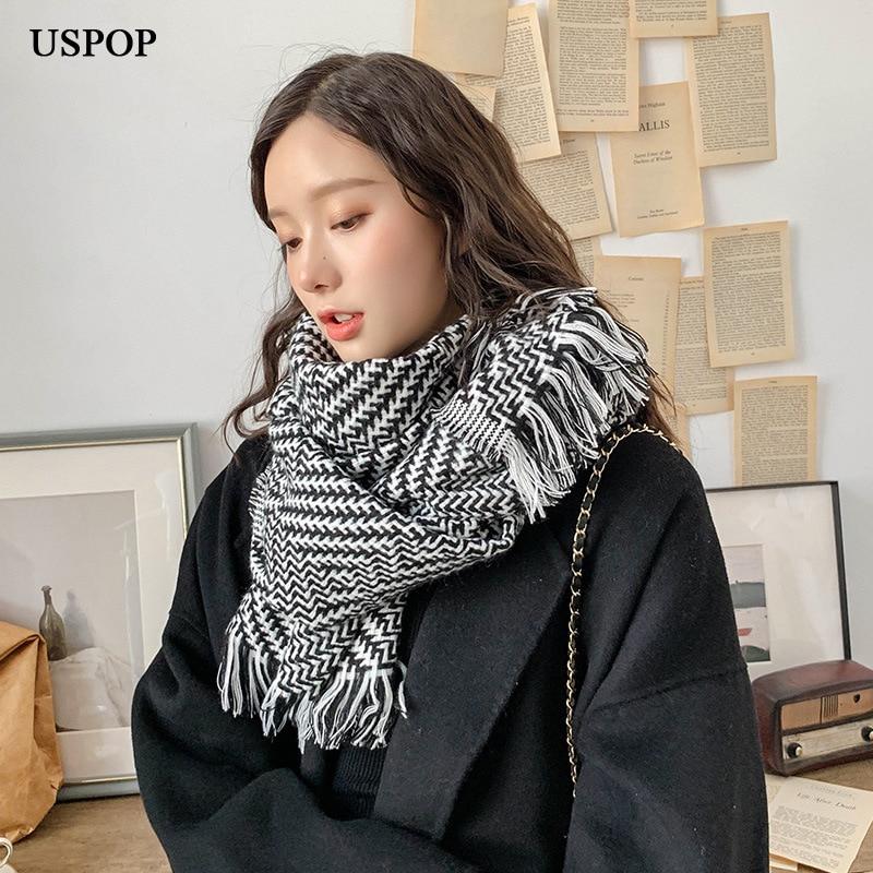 USPOP 2019 Fashion Women Scarves Winter Classic Plaid Scarf Thick Warm Tassel Scarf Long Black White Color Shawl