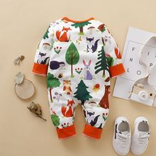 Spring Autumn Casual Jumpsuits Baby Cartoon Animal Printing Long Sleeve Rompers Kids Bodysuits