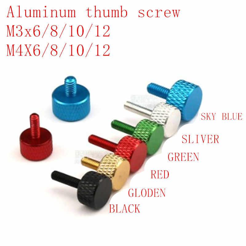 5 pcs/lot m3 m4 * 6/8/10/12 noir rouge gloden bleu vert argent aluminium coloré moleté main serrer la vis