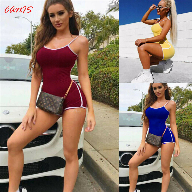 Sexy Women Sleeveless Strap Bodycon Biker Shorts Playsuit Clubwear Sports Romper Playsuit Party Jumpsuit Romper Sunsuit Outfits