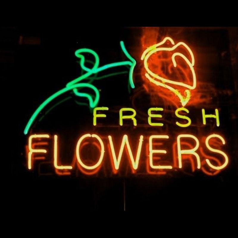 Flor fresca sinal de luz néon tubo de vidro real lâmpada néon sinal decoração da parede loja café placa néon sinal anuncio luminoso atarii