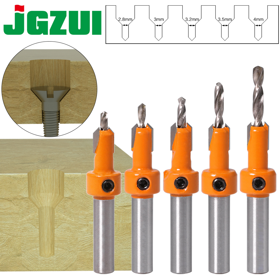 1pcs 8mm Shank HSS Woodworking Countersink Router Bit Set Screw Extractor Remon Demolition For Wood Milling Cutter