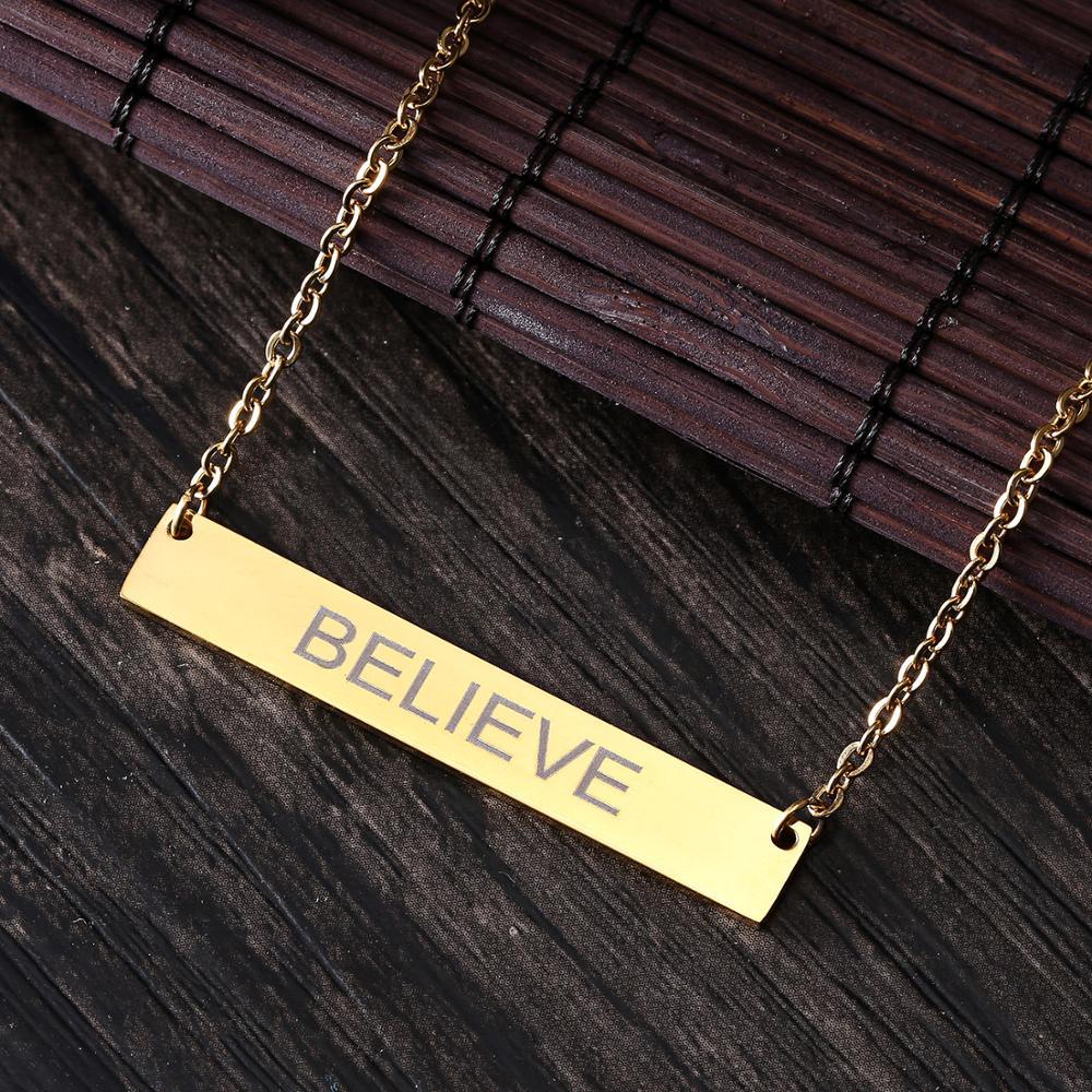 Rinhoo Name Gravur Personalisierte Gold Platz Bar Nach Name Halskette Edelstahl Anhänger Halskette Frauen Männer Custom Geschenk
