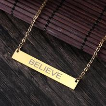Rinhoo Name Engraving Personalized Gold Square Bar Custom Name Necklace Stainless Steel Pendant Necklace Women Men Custom Gift