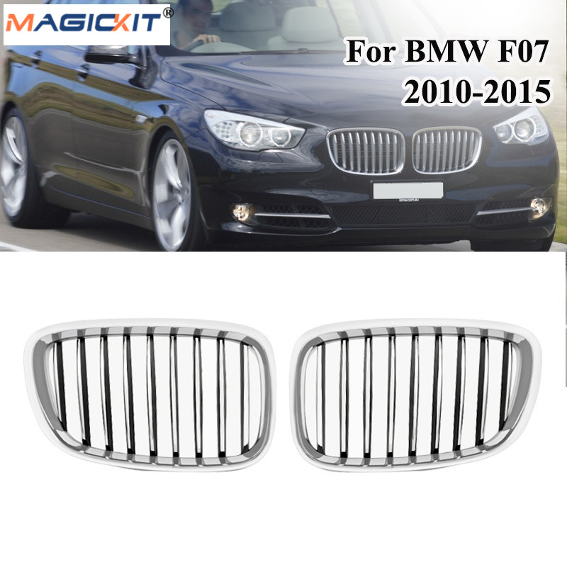MagicKit For BMW F07 GT Chrome Front Bumper Kidney Grille Mesh 5 Series GT Gran Turismo 2009-2013 530d 535i 550i Fastback Grill image