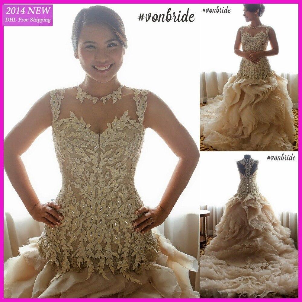 Glamourosa A- Linha Colher Beading Pura Marfim Rendas Babados Em Camadas Vintage Vestidos De Noiva De Vestido Wedding Dresses