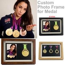 Marco de foto personalizado de madera para el sostenedor de las medallas Vintage caja de exhibición de la medalla Marco de póster marco de protección DIY para el artículo de regalo